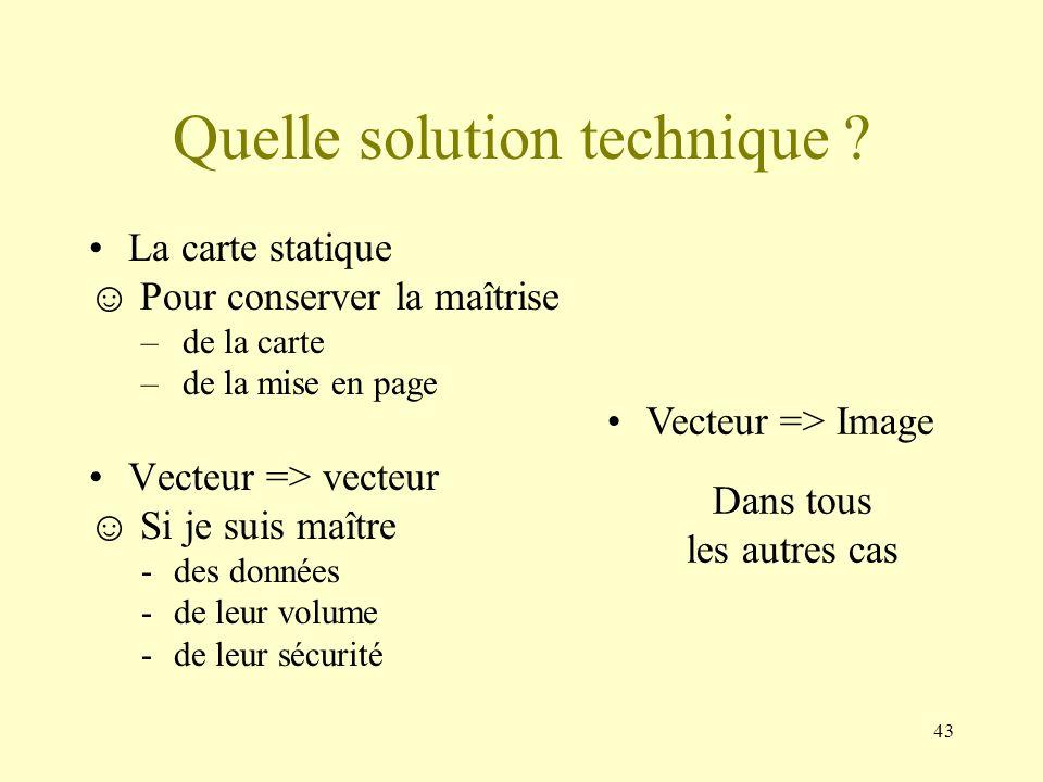43 Quelle solution technique ? La carte statique Pour conserver la maîtrise – de la carte – de la mise en page Vecteur => vecteur Si je suis maître -d