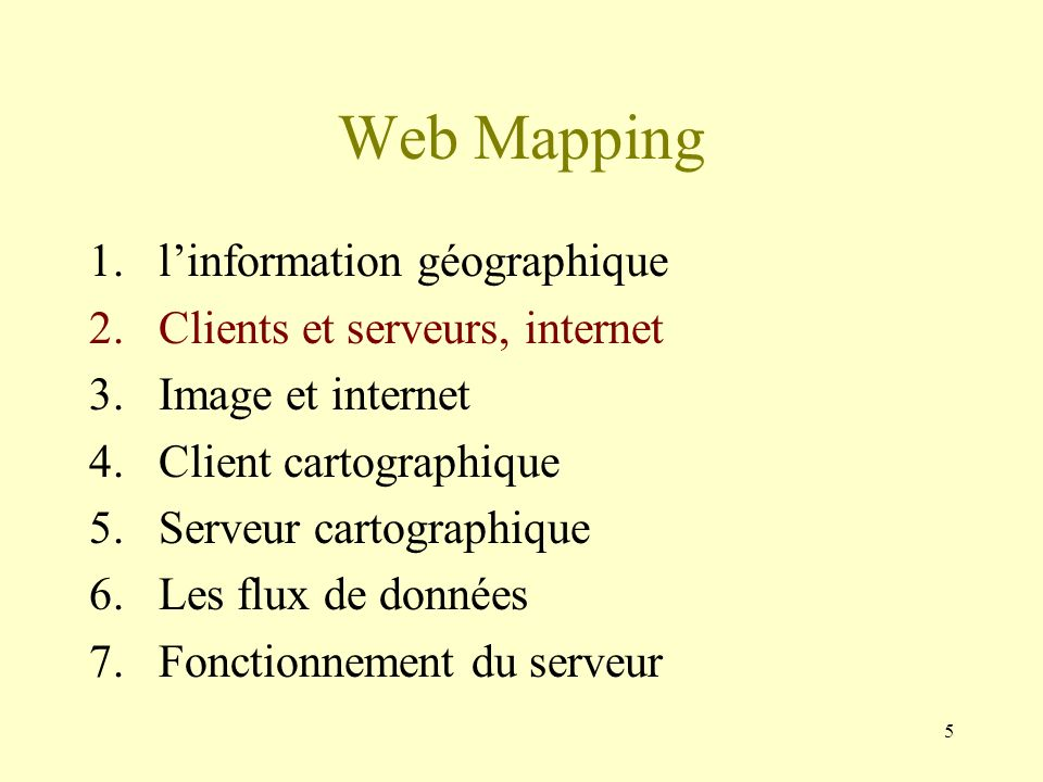 46 WMS et WFS Web Map Service 3 requêtes : -getCapabilities -getMap -getFeatureInfo Web Feature Services 3+2 requêtes : -getCapabilities -describeFeatureType -getFeature -lockFeature -transaction WFS-T