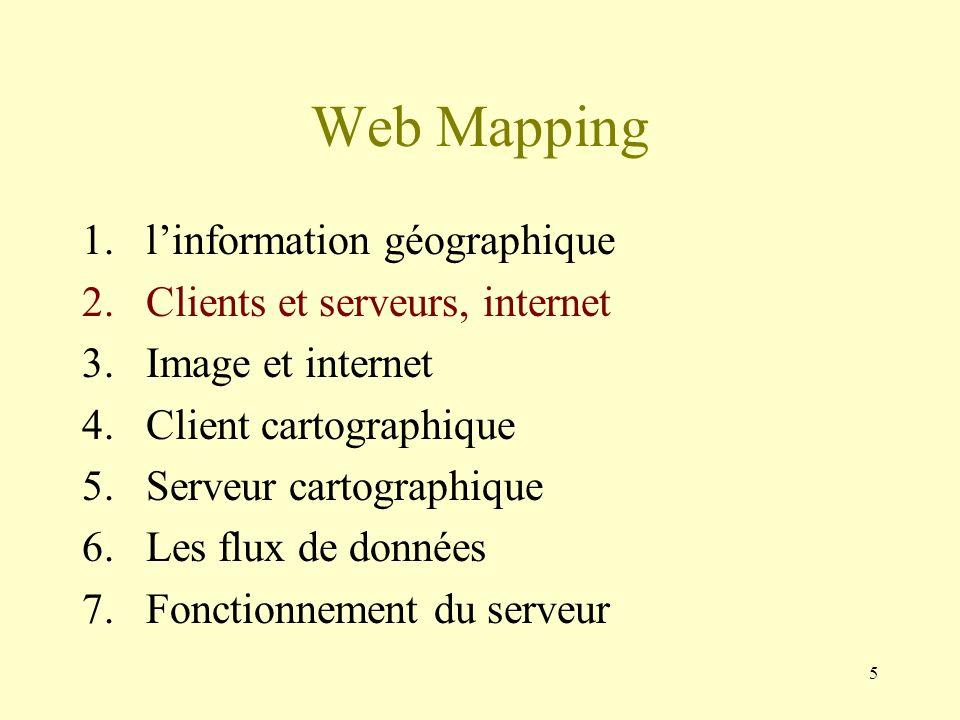 5 Web Mapping 1.linformation géographique 2.Clients et serveurs, internet 3.Image et internet 4.Client cartographique 5.Serveur cartographique 6.Les f