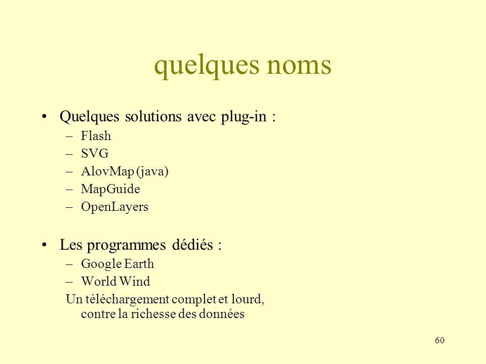60 quelques noms Quelques solutions avec plug-in : –Flash –SVG –AlovMap (java) –MapGuide –OpenLayers Les programmes dédiés : –Google Earth –World Wind