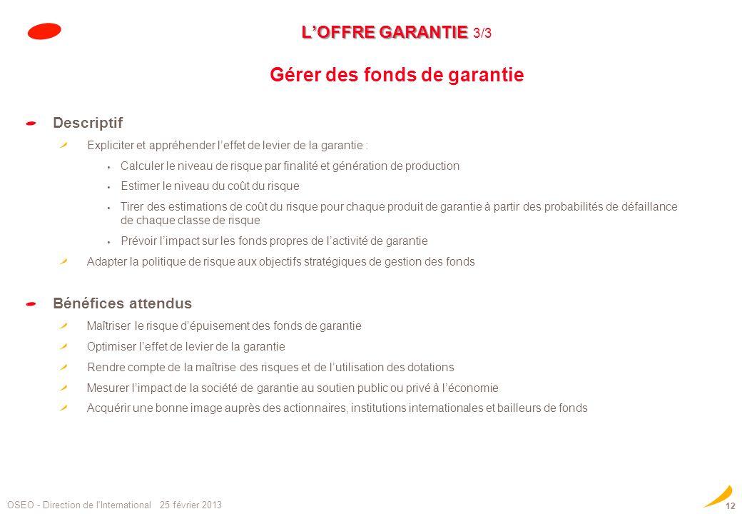 LOFFRE GARANTIE LOFFRE GARANTIE 3/3 Gérer des fonds de garantie Descriptif Expliciter et appréhender leffet de levier de la garantie : Calculer le niv
