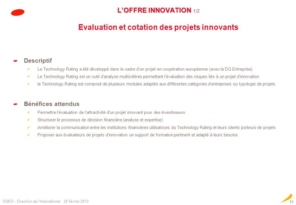 LOFFRE INNOVATION LOFFRE INNOVATION 1/2 Evaluation et cotation des projets innovants Descriptif Le Technology Rating a été développé dans le cadre dun
