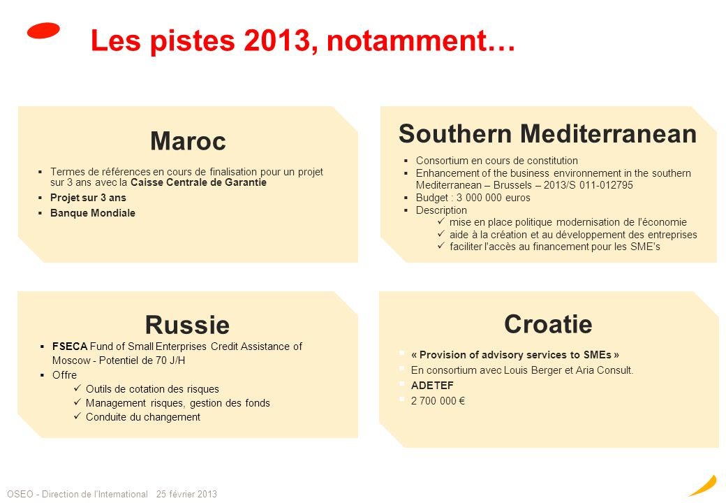 Les pistes 2013, notamment… 18 Maroc Termes de références en cours de finalisation pour un projet sur 3 ans avec la Caisse Centrale de Garantie Projet