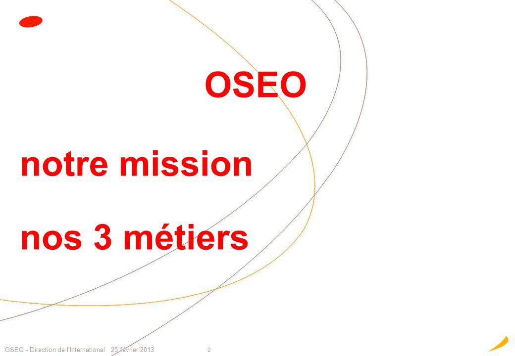 notre mission nos 3 métiers 2 OSEO - Direction de l'International 25 février 2013 OSEO