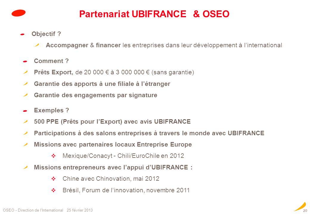 20 Partenariat UBIFRANCE & OSEO OSEO - Direction de l'International 25 février 2013 Objectif ? Accompagner & financer les entreprises dans leur dévelo