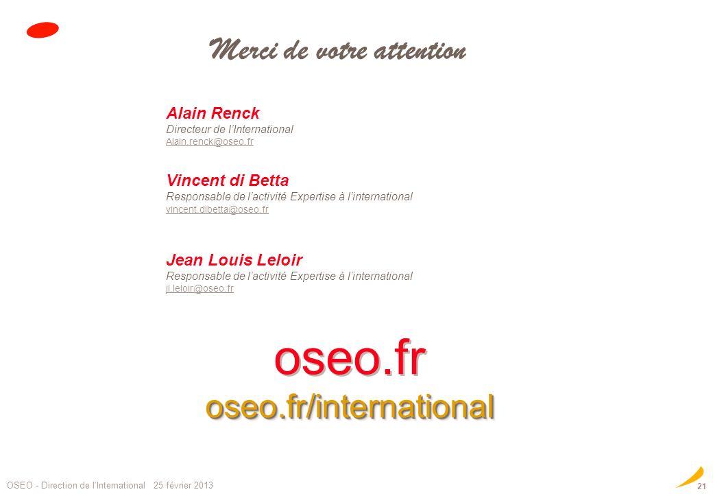 oseo.froseo.fr/international oseo.fr/international Merci de votre attention Alain Renck Directeur de lInternational Alain.renck@oseo.fr Alain.renck@os
