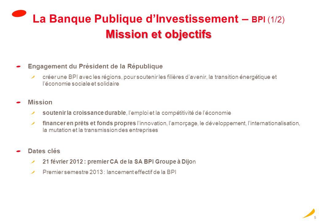 5 Mission et objectifs La Banque Publique dInvestissement – BPI (1/2) Mission et objectifs Engagement du Président de la République créer une BPI avec