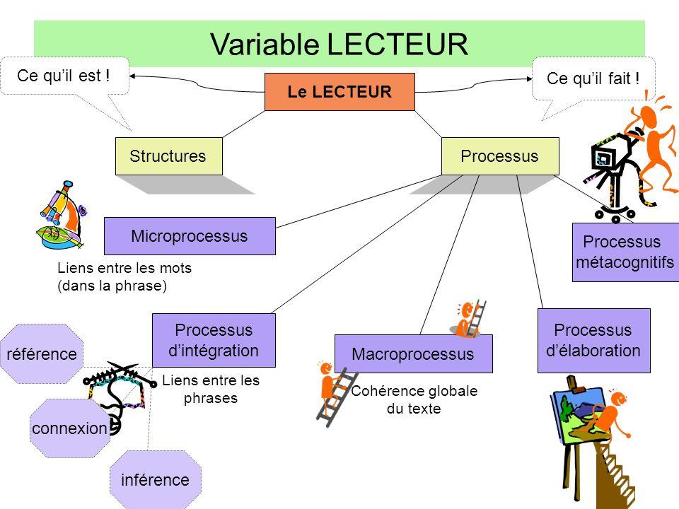Variable LECTEUR Le LECTEUR Structures Processus Microprocessus Processus dintégration Macroprocessus Processus délaboration Processus métacognitifs C