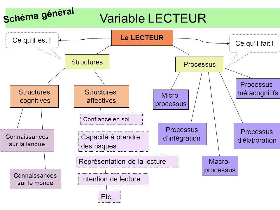 Connaissances sur le monde Variable LECTEUR Le LECTEUR Structures Processus Structures cognitives Structures affectives Connaissances sur la langue Mi
