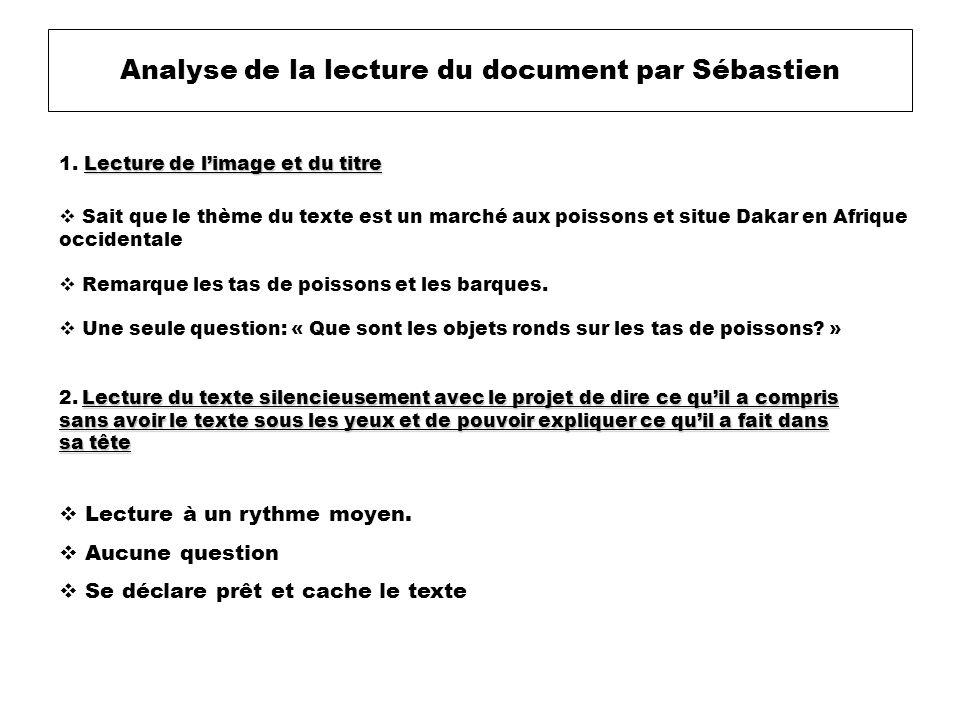 Analyse de la lecture du document par Sébastien Lecture à un rythme moyen. Aucune question Se déclare prêt et cache le texte Lecture de limage et du t