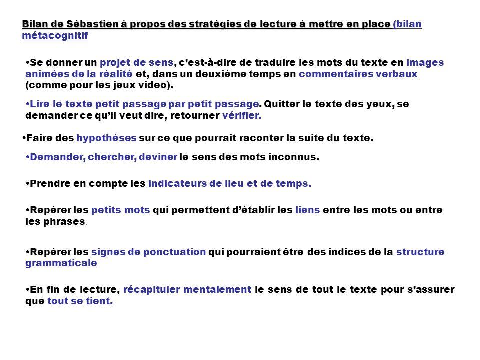 Bilan de Sébastien à propos des stratégies de lecture à mettre en place ( Bilan de Sébastien à propos des stratégies de lecture à mettre en place (bil