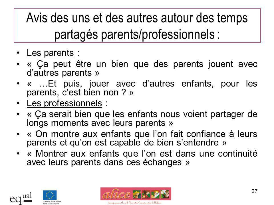27 Avis des uns et des autres autour des temps partagés parents/professionnels : Les parents : « Ça peut être un bien que des parents jouent avec daut