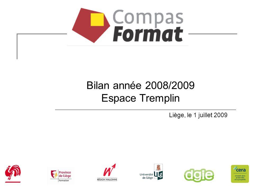Bilan année 2008/2009 Espace Tremplin Liège, le 1 juillet 2009