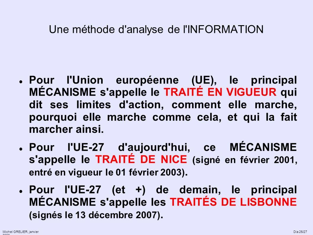 Une méthode d'analyse de l'INFORMATION Pour l'Union européenne (UE), le principal MÉCANISME s'appelle le TRAITÉ EN VIGUEUR qui dit ses limites d'actio
