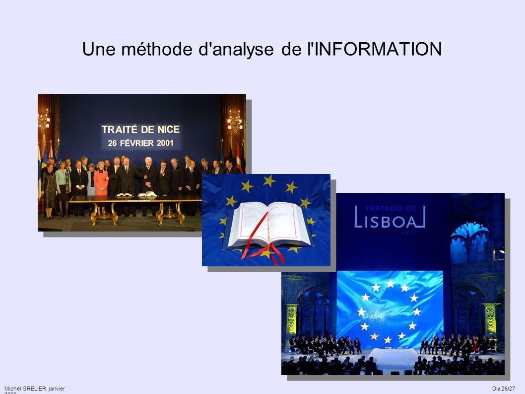 Une méthode d'analyse de l'INFORMATION Michel GRELIER, janvier 2009 Dia 26/27
