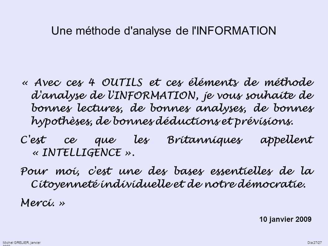 Une méthode d'analyse de l'INFORMATION « Avec ces 4 OUTILS et ces éléments de méthode d'analyse de l'INFORMATION, je vous souhaite de bonnes lectures,
