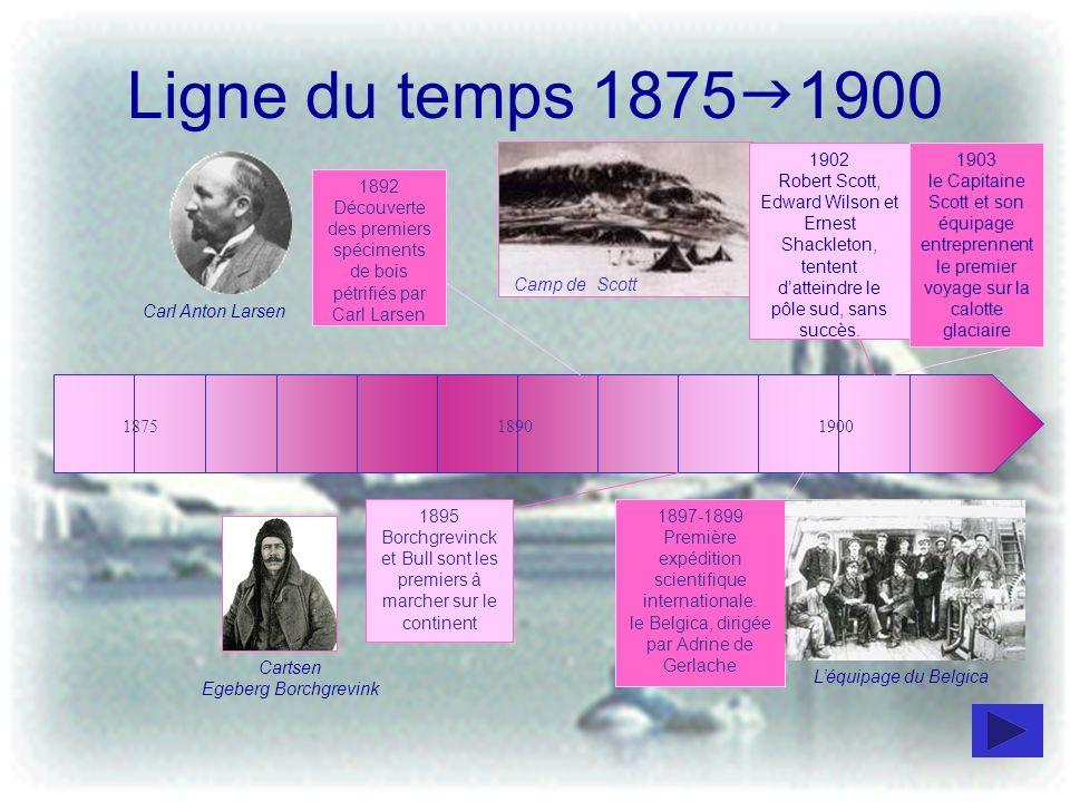 Ligne du temps 1900 1950 1903 le Capitaine Charcot cartographie la côte ouest de lAntarctique 190019251950 Le 14 décembre 1911 lexplorateur Amundsen et quatre autres membres de léquipe atteignent le pôle sud géographique et y plantent le drapeau norvégien.