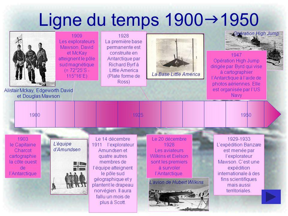 Ligne du temps 1900 1950 1903 le Capitaine Charcot cartographie la côte ouest de lAntarctique 190019251950 Le 14 décembre 1911 lexplorateur Amundsen e