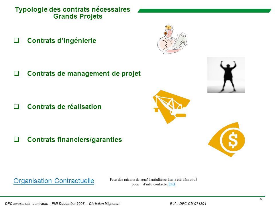 5 DPC Investment contracts – PMI December 2007 – Christian Mignonat Réf. : DPC-CM 071204 Typologie des contrats nécessaires Grands Projets Contrats di