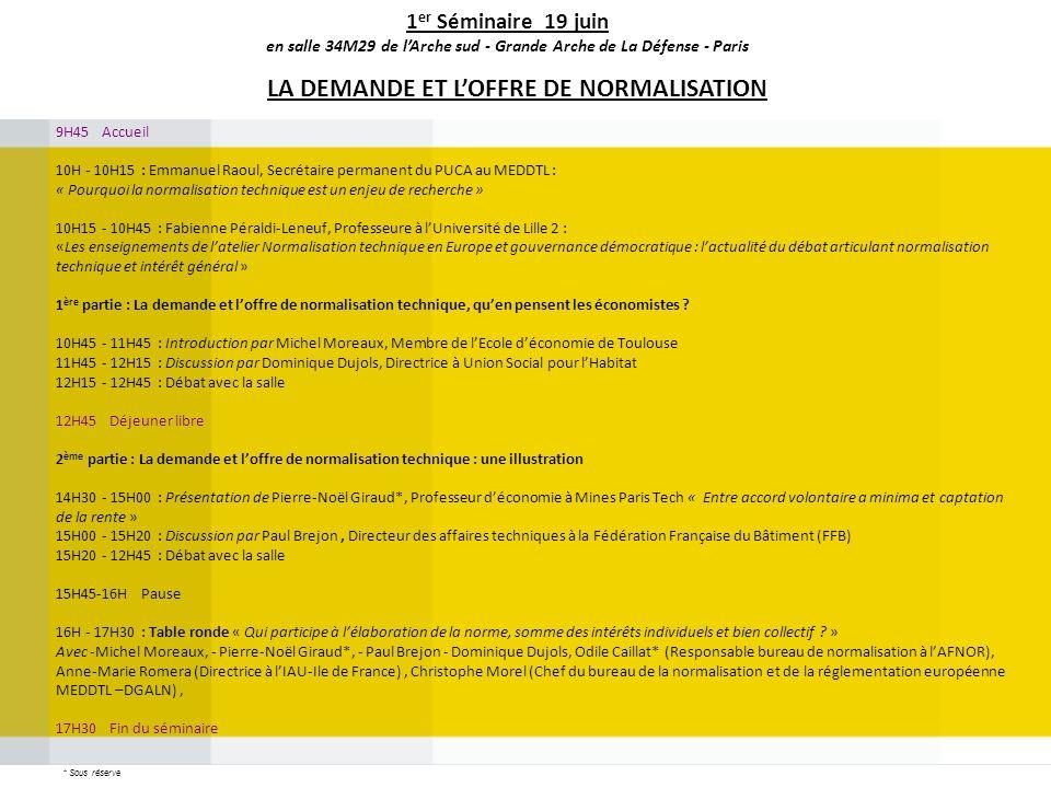 9H45 Accueil 10H - 10H15 : Emmanuel Raoul, Secrétaire permanent du PUCA au MEDDTL : « Pourquoi la normalisation technique est un enjeu de recherche »