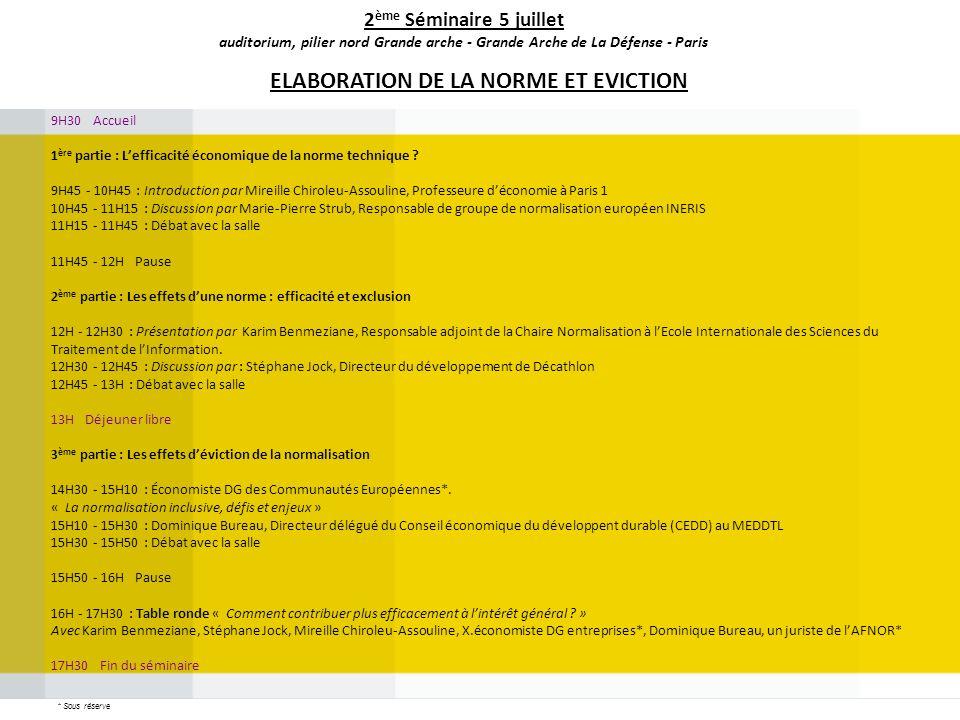 9H30 Accueil 1 ère partie : Lefficacité économique de la norme technique ? 9H45 - 10H45 : Introduction par Mireille Chiroleu-Assouline, Professeure dé