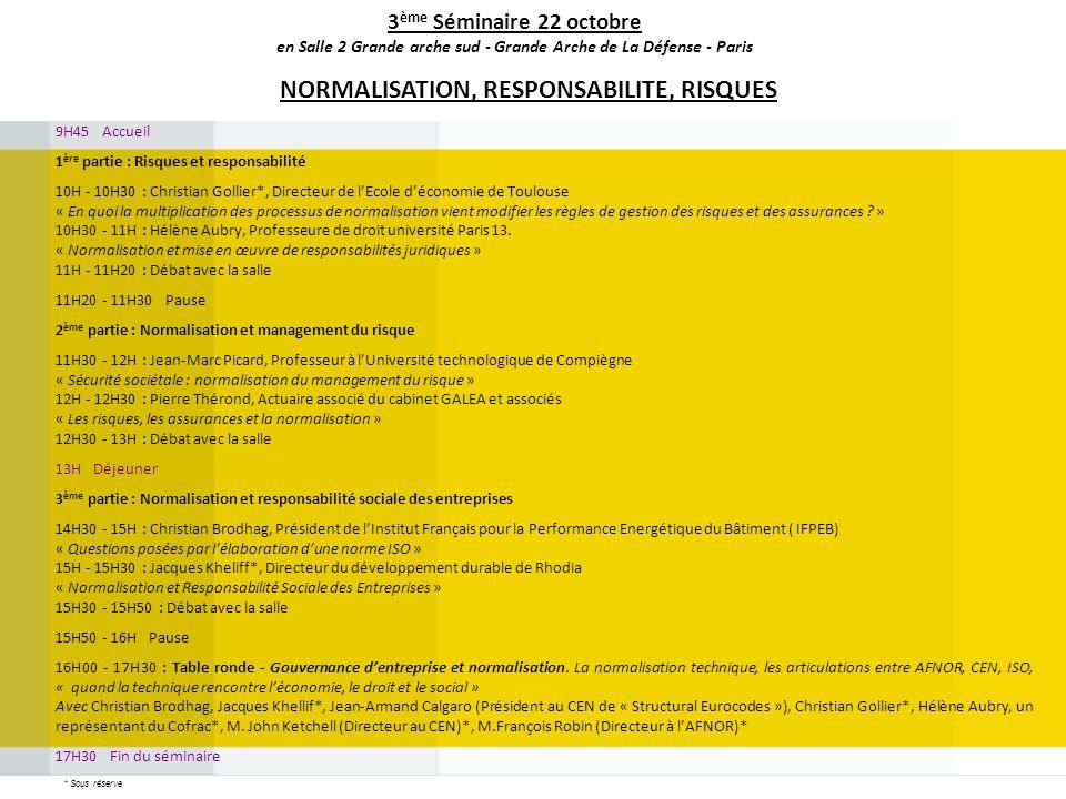 9H45 Accueil 1 ère partie : Risques et responsabilité 10H - 10H30 : Christian Gollier*, Directeur de lEcole déconomie de Toulouse « En quoi la multipl
