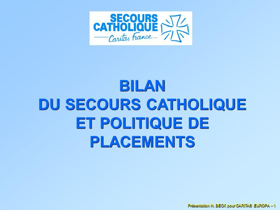 BILAN DU SECOURS CATHOLIQUE ET POLITIQUE DE PLACEMENTS Présentation H. BECK pour CARITAS EUROPA - 1
