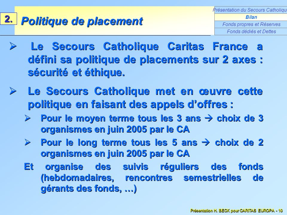 Le Secours Catholique Caritas France a défini sa politique de placements sur 2 axes : sécurité et éthique. Le Secours Catholique met en œuvre cette po