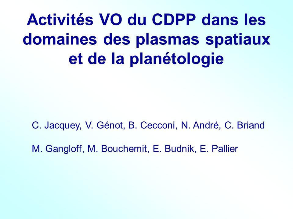 Activités VO du CDPP dans les domaines des plasmas spatiaux et de la planétologie C. Jacquey, V. Génot, B. Cecconi, N. André, C. Briand M. Gangloff, M