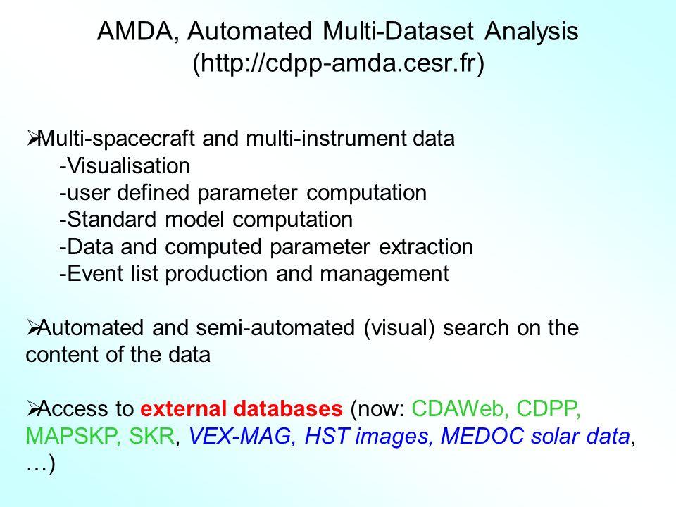 AMDA, Automated Multi-Dataset Analysis (http://cdpp-amda.cesr.fr) Multi-spacecraft and multi-instrument data -Visualisation -user defined parameter co