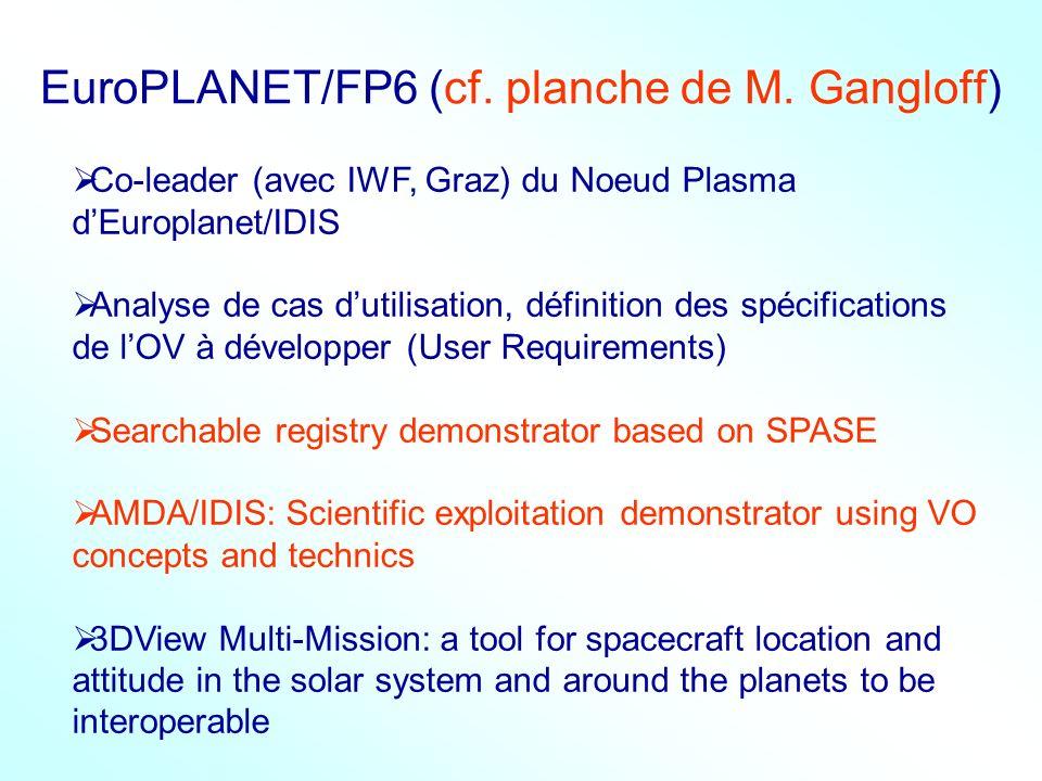 EuroPLANET/FP6 (cf. planche de M. Gangloff) Co-leader (avec IWF, Graz) du Noeud Plasma dEuroplanet/IDIS Analyse de cas dutilisation, définition des sp