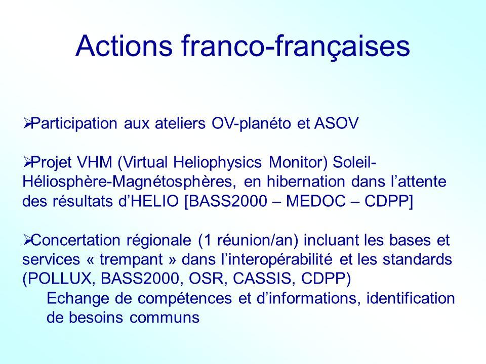 Actions franco-françaises Participation aux ateliers OV-planéto et ASOV Projet VHM (Virtual Heliophysics Monitor) Soleil- Héliosphère-Magnétosphères,