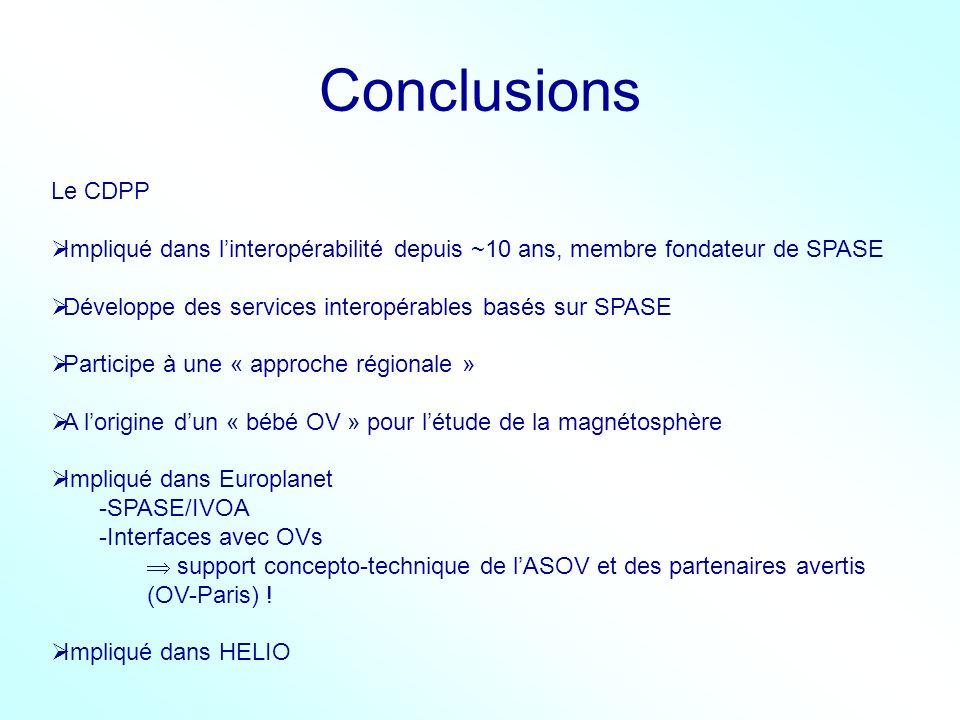 Conclusions Le CDPP Impliqué dans linteropérabilité depuis ~10 ans, membre fondateur de SPASE Développe des services interopérables basés sur SPASE Pa