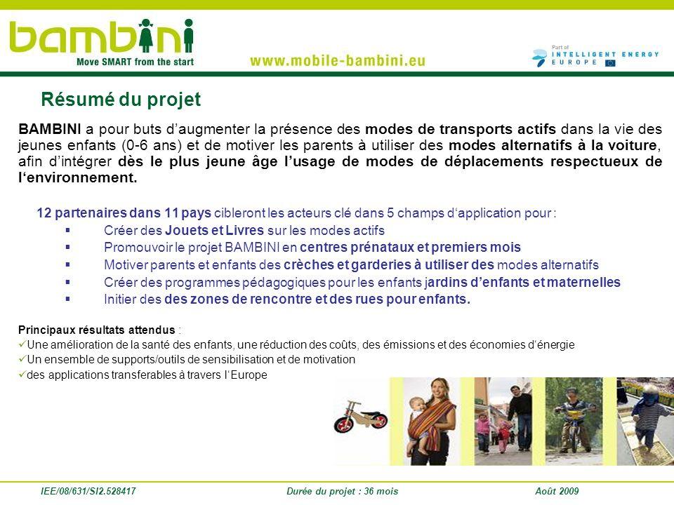 IEE/08/631/SI2.528417Durée du projet : 36 moisAoût 2009 BAMBINI a pour buts daugmenter la présence des modes de transports actifs dans la vie des jeun