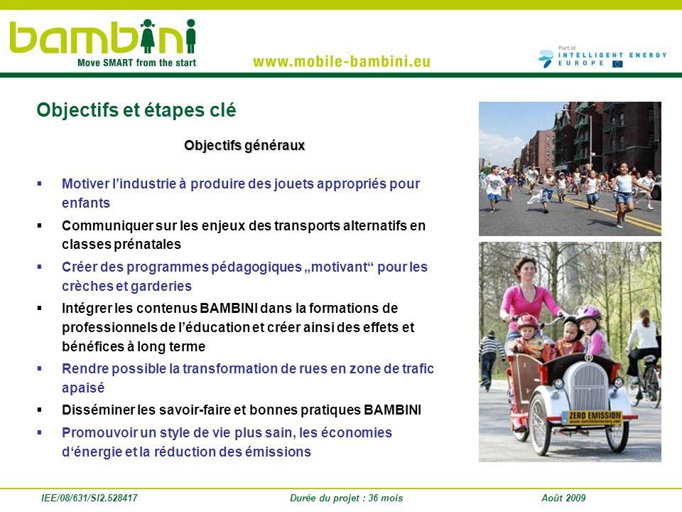 IEE/08/631/SI2.528417 Objectifs généraux Motiver lindustrie à produire des jouets appropriés pour enfants Communiquer sur les enjeux des transports al