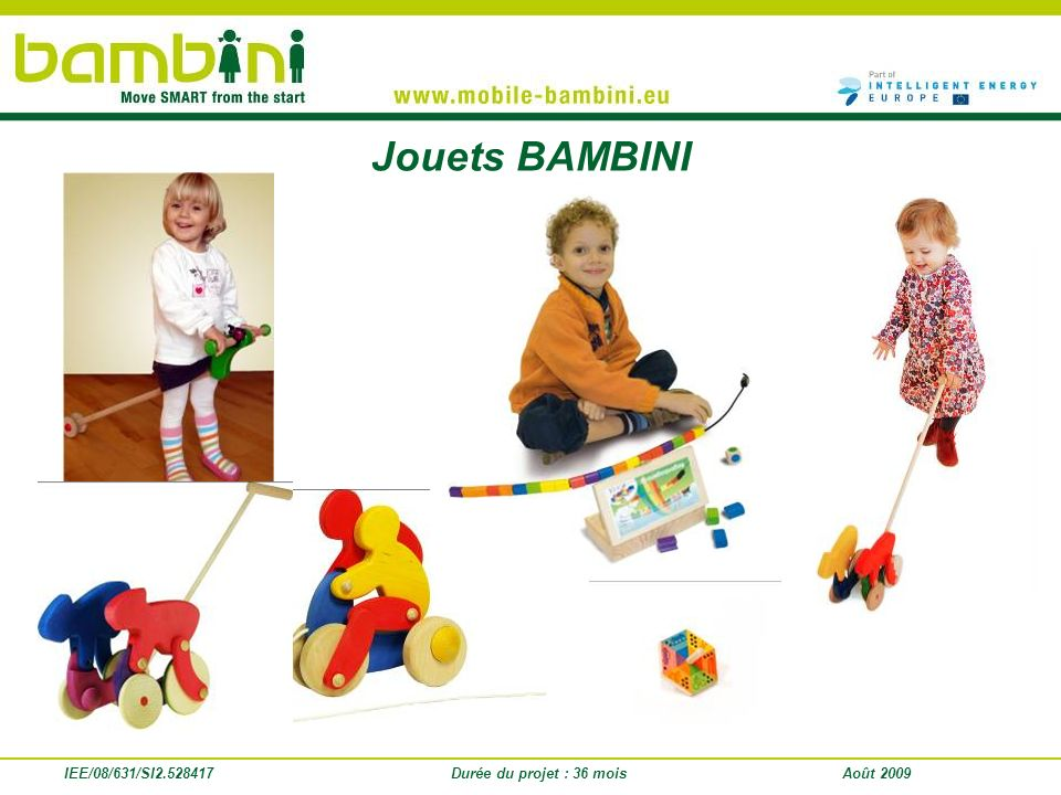 IEE/08/631/SI2.528417 Intermediate results 3 toys have been developed and distributed in kindergartens in partner countries for testing BAMBINI content has been integrated into 10 antenatal classes BAMBINI courses have been held in 30 Nurseries (number of children and parents reached: 255) BAMBINI courses have been held with kindergarten staff from 57 groups, toys have been distributed and are currently tested 597 professionals have been trained with BAMBINI content so far – 76% of them are satisfied with it Traffic calming measures have been established in 11 streets 351 stakeholders have been reached in workshops, 3060 face-to-face at conferences and almost 370.000 with written BAMBINI materials