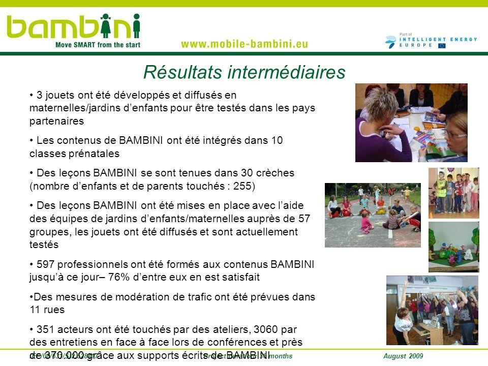 IEE/08/631/SI2.528417Project duration: 36 monthsAugust 2009 Résultats intermédiaires 3 jouets ont été développés et diffusés en maternelles/jardins de