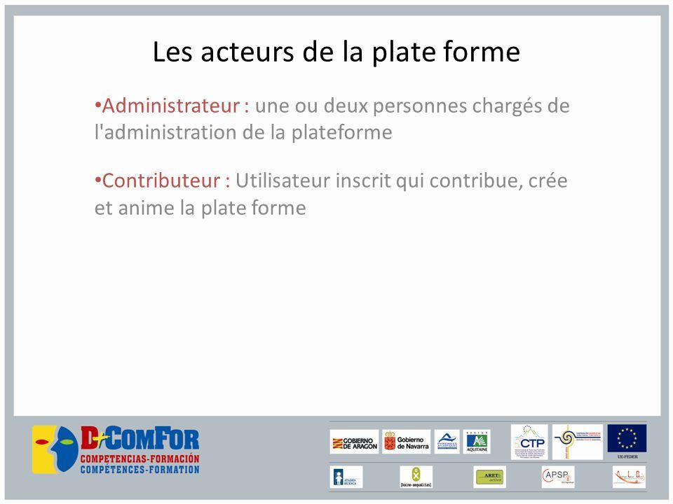 Les acteurs de la plate forme Administrateur : une ou deux personnes chargés de l administration de la plateforme Contributeur : Utilisateur inscrit qui contribue, crée et anime la plate forme