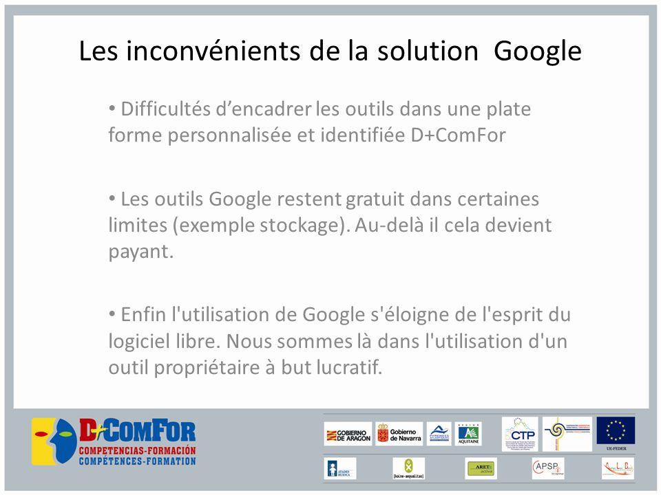 Les inconvénients de la solution Google Difficultés dencadrer les outils dans une plate forme personnalisée et identifiée D+ComFor Les outils Google restent gratuit dans certaines limites (exemple stockage).