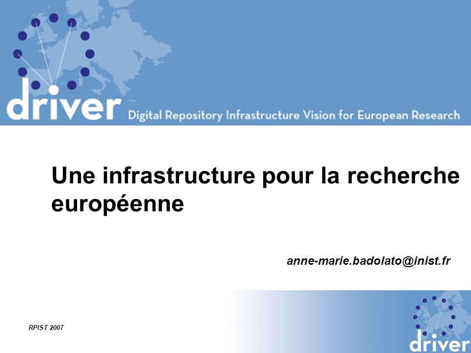 RPIST 2007 Objectif du projet Une infrastructure européenne de réservoirs numériques Développement dun prototype pour interconnecter les archives ouvertes, institutionnelles Structuration des institutions dun point de vue organisationnel