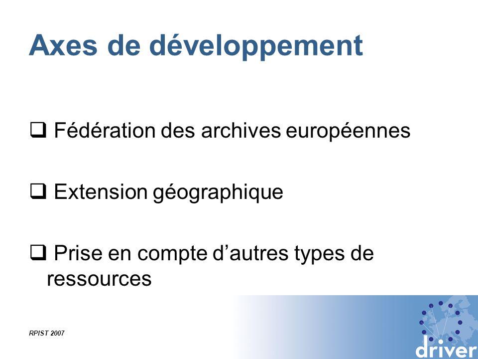 Axes de développement Fédération des archives européennes Extension géographique Prise en compte dautres types de ressources