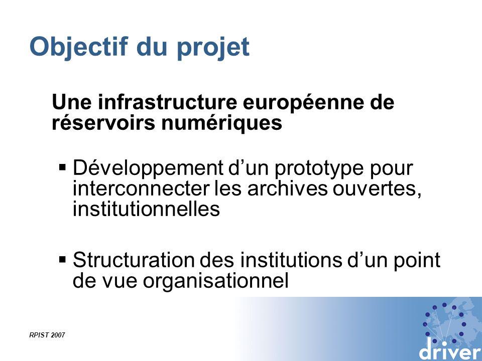 RPIST 2007 Objectif du projet Une infrastructure européenne de réservoirs numériques Développement dun prototype pour interconnecter les archives ouve