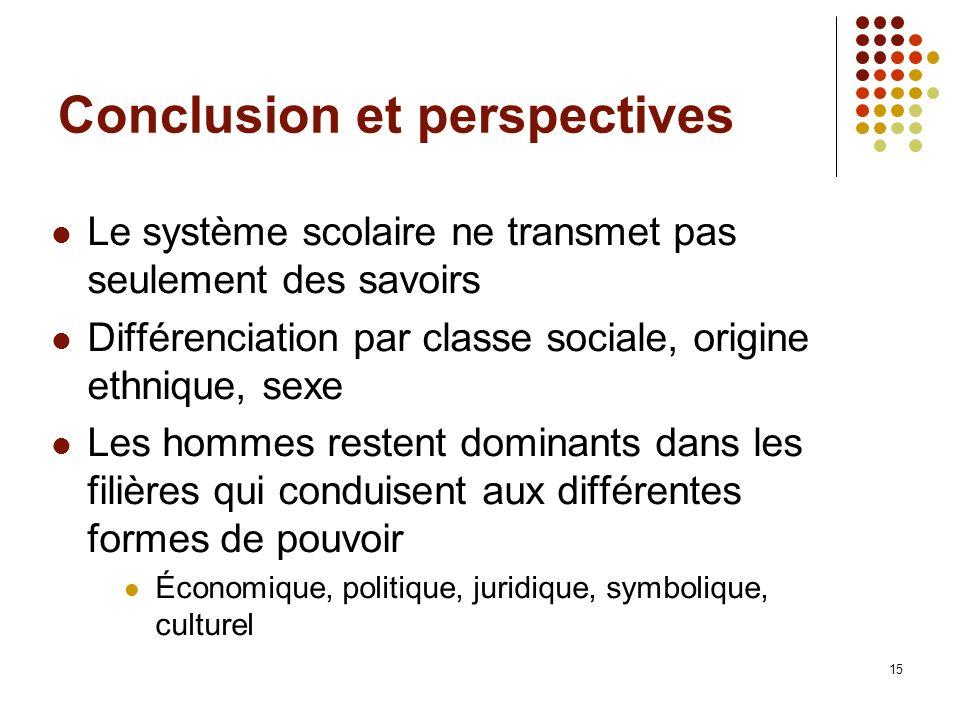 15 Conclusion et perspectives Le système scolaire ne transmet pas seulement des savoirs Différenciation par classe sociale, origine ethnique, sexe Les