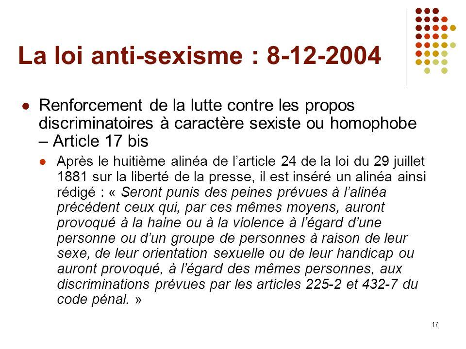 17 La loi anti-sexisme : 8-12-2004 Renforcement de la lutte contre les propos discriminatoires à caractère sexiste ou homophobe – Article 17 bis Après