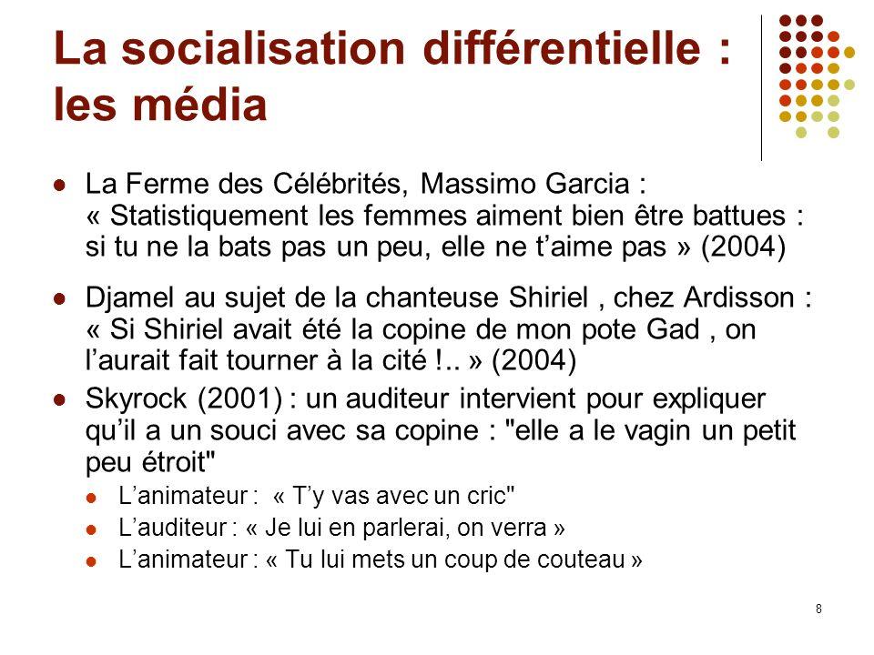 8 La socialisation différentielle : les média La Ferme des Célébrités, Massimo Garcia : « Statistiquement les femmes aiment bien être battues : si tu