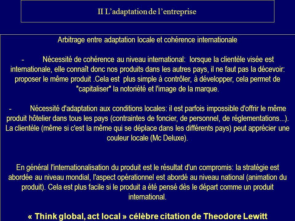II Ladaptation de lentreprise Arbitrage entre adaptation locale et cohérence internationale - Nécessité de cohérence au niveau international: lorsque