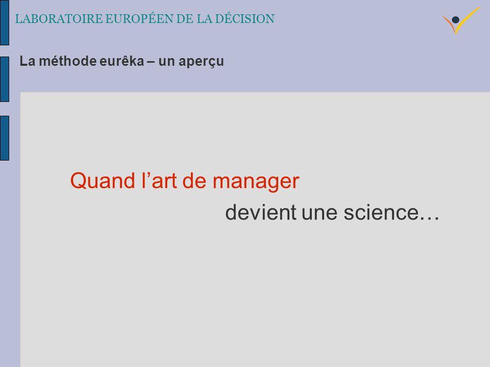 Quand lart de manager devient une science… LABORATOIRE EUROPÉEN DE LA DÉCISION La méthode eurêka – un aperçu