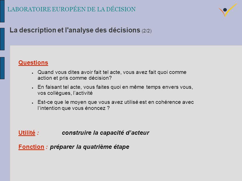 La description et l analyse des décisions (2/2) LABORATOIRE EUROPÉEN DE LA DÉCISION Questions Quand vous dites avoir fait tel acte, vous avez fait quoi comme action et pris comme décision.