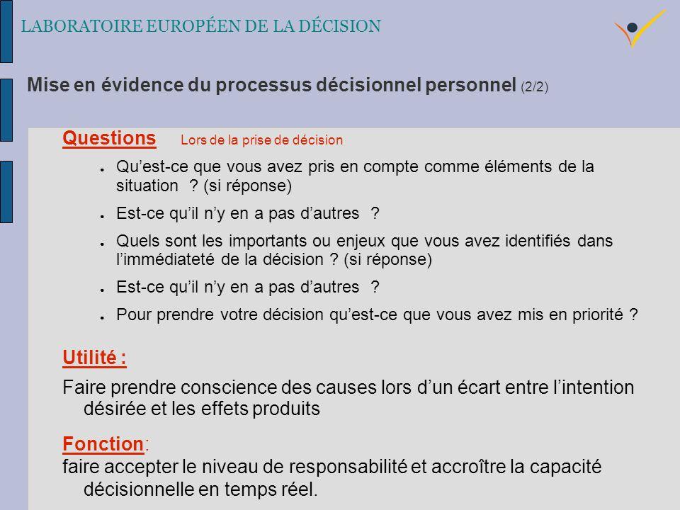 LABORATOIRE EUROPÉEN DE LA DÉCISION Questions Lors de la prise de décision Quest-ce que vous avez pris en compte comme éléments de la situation .