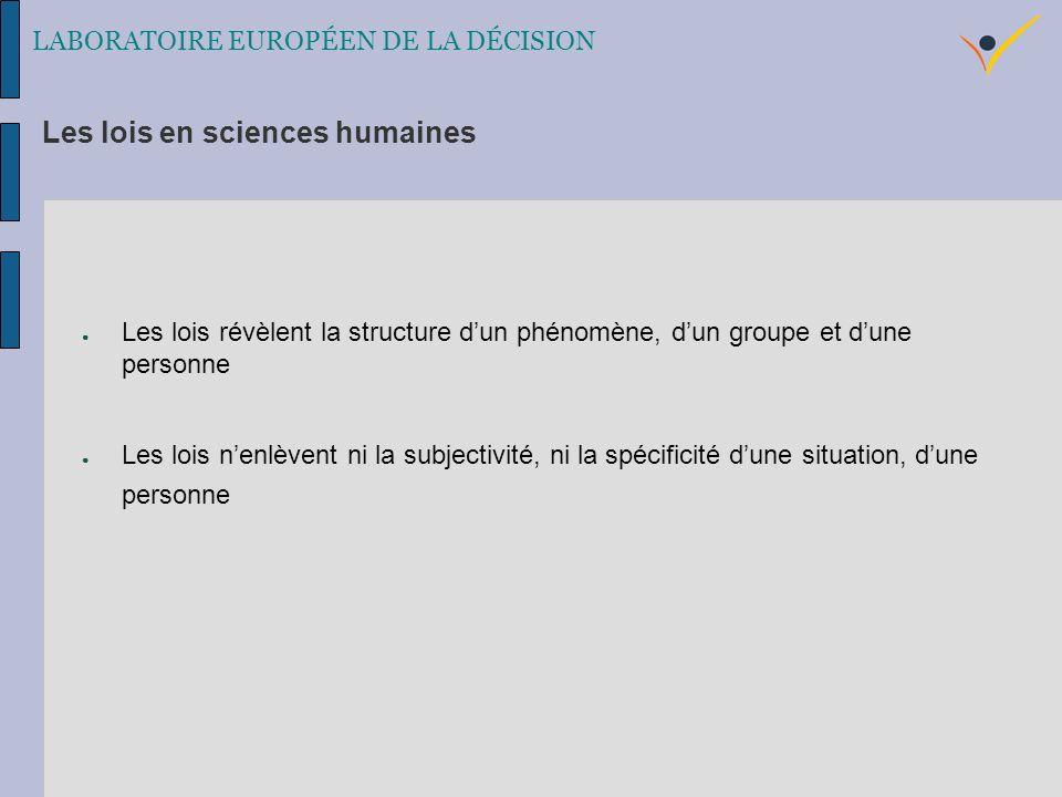 Les lois révèlent la structure dun phénomène, dun groupe et dune personne Les lois nenlèvent ni la subjectivité, ni la spécificité dune situation, dune personne Les lois en sciences humaines LABORATOIRE EUROPÉEN DE LA DÉCISION